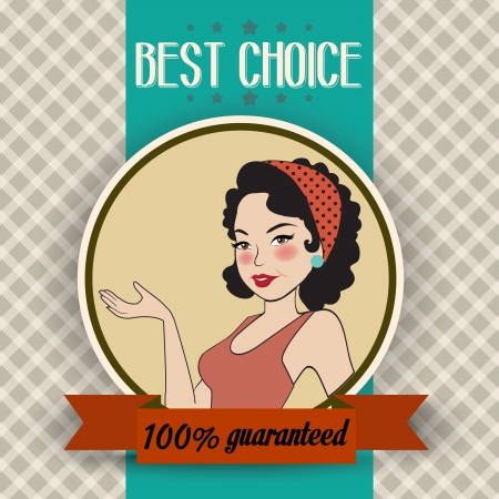 message vector: retro illustration of a beautiful woman and best choice message, vector format Illustration