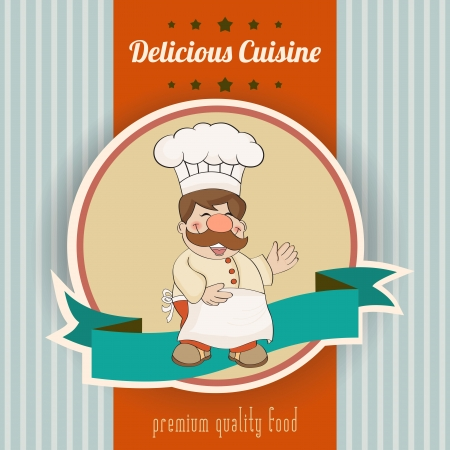 message vector: Retro illustration with cook and delicious cuisine message, vector illustration