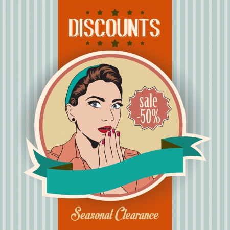 retro illustration of a beautiful woman and discounts message, vector illustration Vector