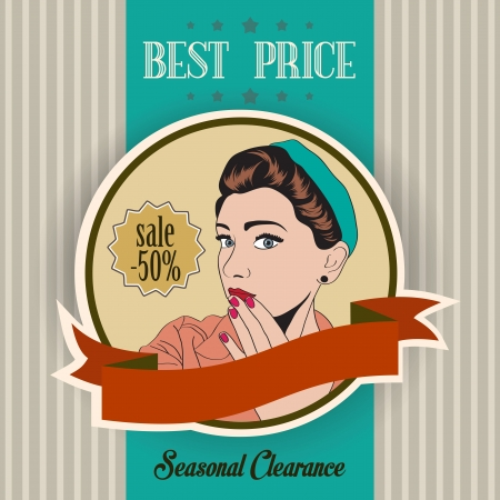retro illustration of a beautiful woman and best price message, vector format Vector