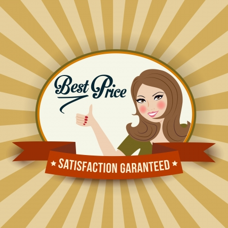 retro illustration with a  woman and best price message Vector