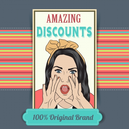 retro illustration of a beautiful woman and amazing discounts message, vector format Vector