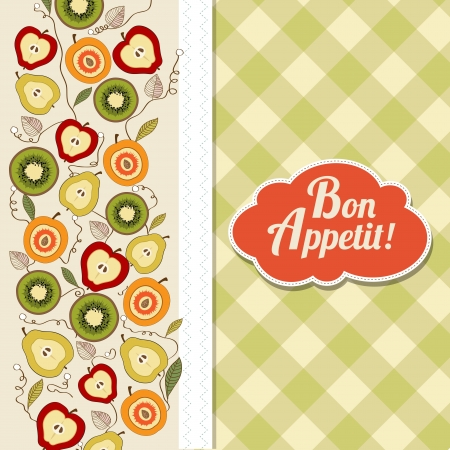 bon appetite card with fruits, vector illustration Vector