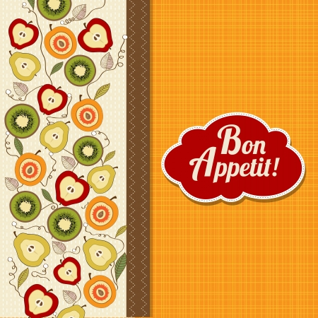 appetite: bon appetite card with fruits, vector illustration