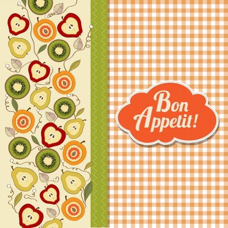 bon: bon appetite card with fruits, vector illustration