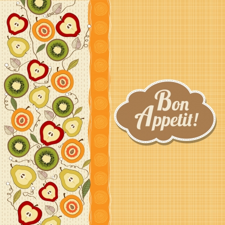 bon: bon appetite card with fruits, vector illustration