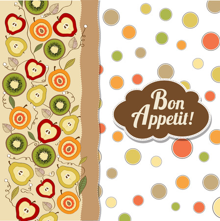 recommended: bon appetite card with fruits, vector illustration