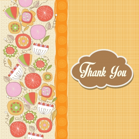 romantic Thank You card with flowers, illustration in vector format Vector