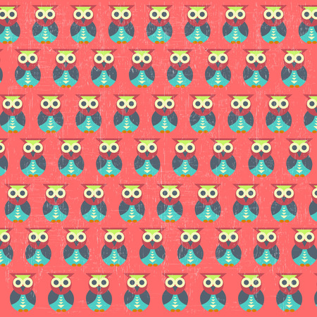 retro seamless pattern with owls, vector illustration Vector