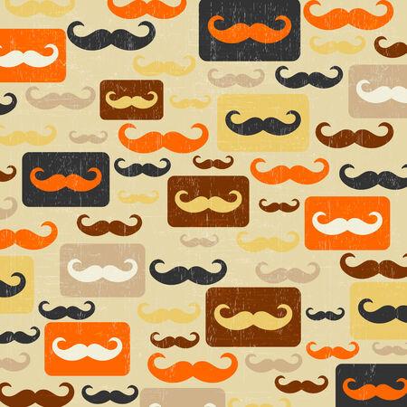 retro seamless pattern with mustache, vector illustration