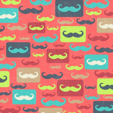 retro seamless pattern with mustache, vector illustration Vector
