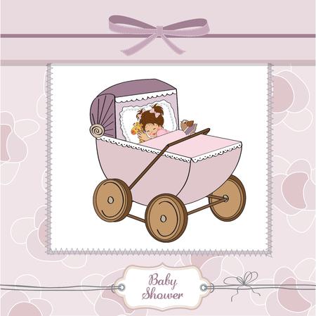 baby girl shower card with retro strolller, vector illustration Vector