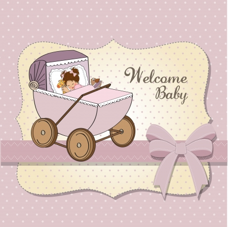baby girl shower card, vector illustration Vector