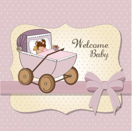 baby girl shower card, vector illustration