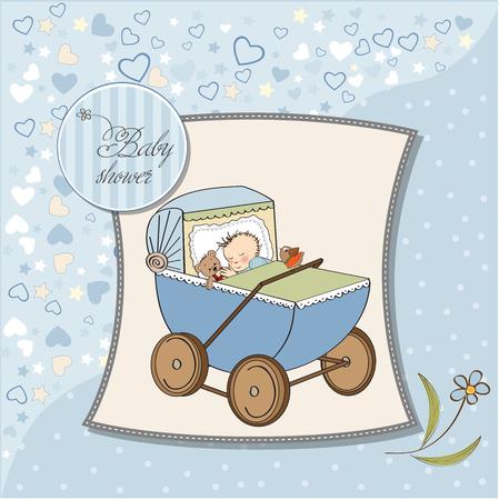 baby boy shower card with retro strolller, vector illustration Vector