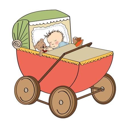 baby stroller: baby boy in retro stroller isolated on white background, vector illustration