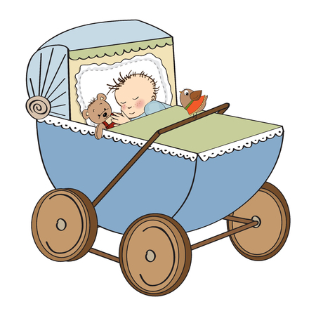baby boy in retro stroller isolated on white background, vector illustration Stock Vector - 23262315