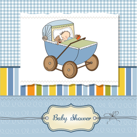 baby boy shower card with retro strolller, vector illustration Vector