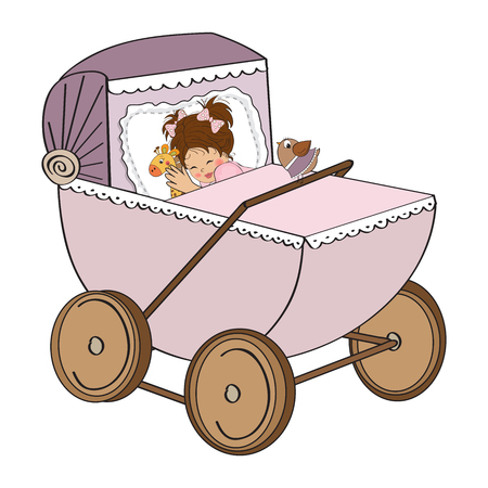 baby girl in retro stroller isolated on white background, vector illustration Stock Vector - 23262323