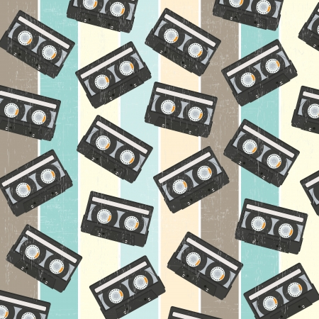 recordable: seamless background with vintage analogue music recordable cassettes, vector illustration