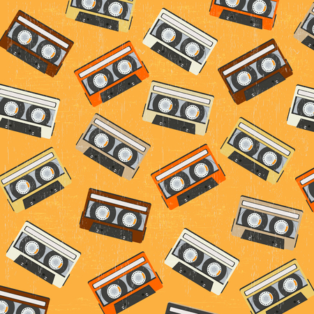 analogue: seamless background with vintage analogue music recordable cassettes, vector illustration