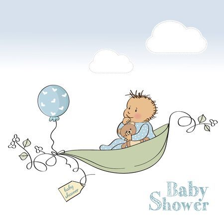 baby boy shower card, vector illustration