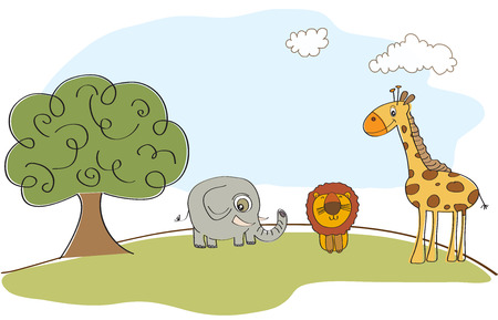 cute animals in the forest, vector illustration Vector