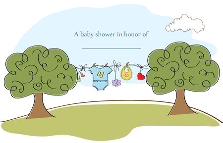 crone: baby shower card, illustration in vector format