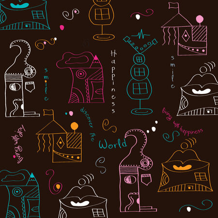 seamless pattern with  surreal houses, illustration in vector format Vector