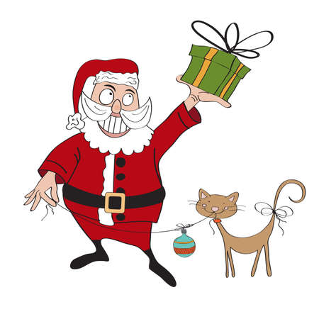 Santa Claus with gift, comic illustration  in vector format Vector