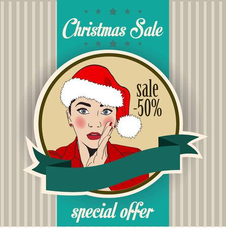 sexy santa: Christmas sale design with sexy Santa girl, illustration in vector format