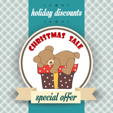Christmas sale design with teddy bear, illustration in vector format Vector