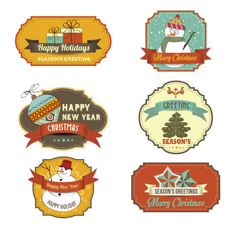 Collection of vintage retro Christmas labels, in vector format Vector