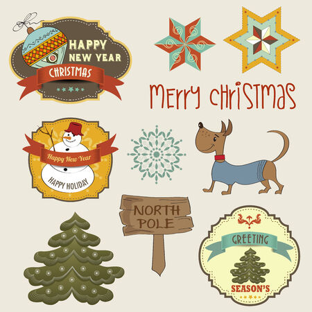 Collection of vintage Christmas decorative elements and labels, vector illustration