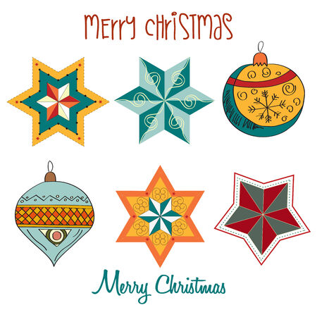 Collection of vintage Christmas decorative elements, vector illustration Vector