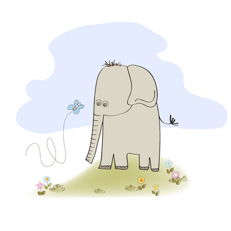 elephant icon: little cute elephant, illustration in vector format