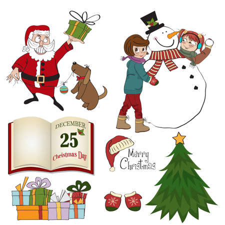 seson: Christmas items set isolated on white background, vector format Illustration