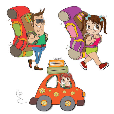 isolatd: tourists items set isolatd on white background, vector illustration Illustration