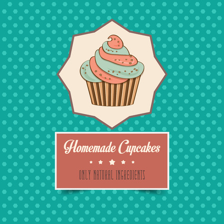 vintage homemade cupcakes poster, in vector format Vector