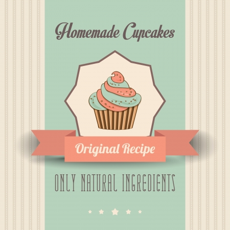 confection: vintage homemade cupcakes poster, in vector format
