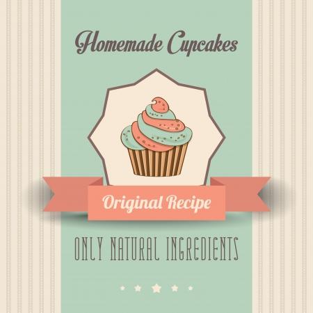 vintage zelfgemaakte cupcakes poster, in vector-formaat