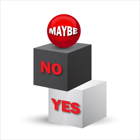 Yes, no, maybe, 3d sign in format Vector