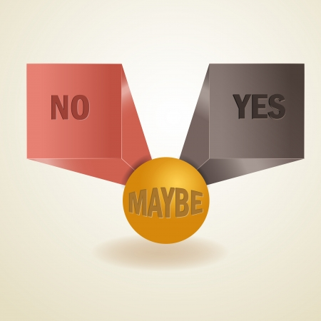 Yes, no, maybe, 3d sign  Vector
