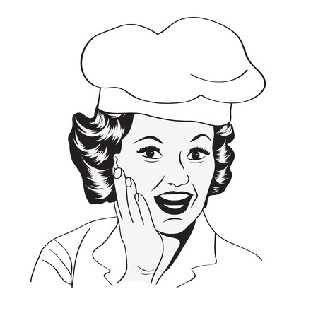 Lady Chef, illustrazione retro in formato vettoriale Archivio Fotografico - 25123447