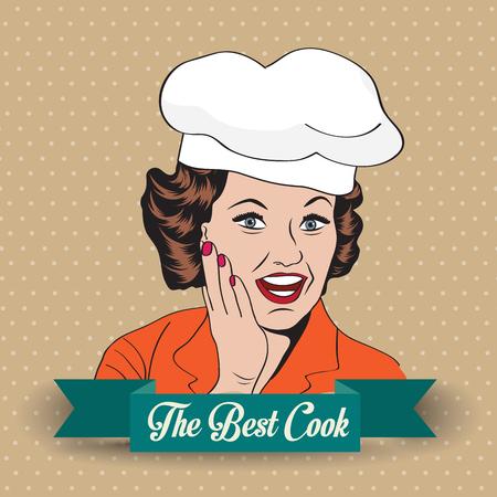 Lady Chef, illustrazione retro in formato vettoriale Archivio Fotografico - 25123449