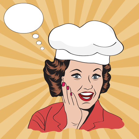 homemakers: Lady Chef,  retro illustration in vector format