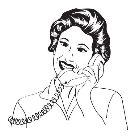 telephones: Popart comic retro woman talking by phone, vector illustration