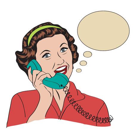 telefono caricatura: Popart mujer retro comic hablando por teléfono Vectores