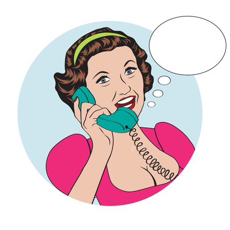 Pop art comic retro woman talking by phone Vector