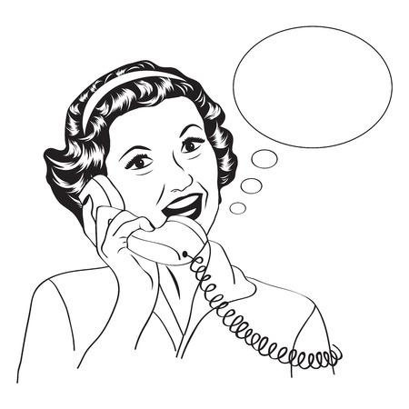 telefono caricatura: Popart mujer retro comic hablando por teléfono, ilustración vectorial
